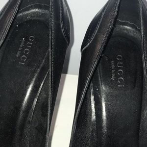 Black Gucci Open Toed Pumps